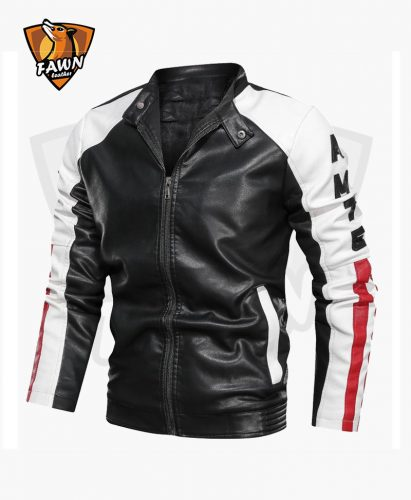 Men Slim Fit Fashion Biker Leather Jacket