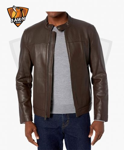Men's 100% Genuine Leather Fashion Leather Moto Jacket
