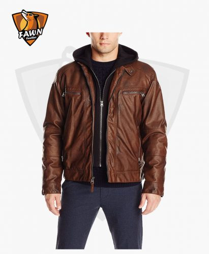 Men's Fashion Faux Lamb Leather Motorcycle Jacket Hoodie Coat