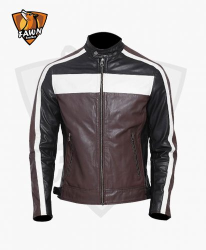 Multi Color Goat Leather Fashion Biker Jacket for Men