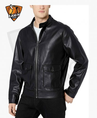 New Arrival Fashion Mens Faux Leather Two Pocket Jacket