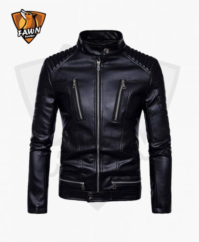 New Comfortable Men Fashion Black Leather Jacket