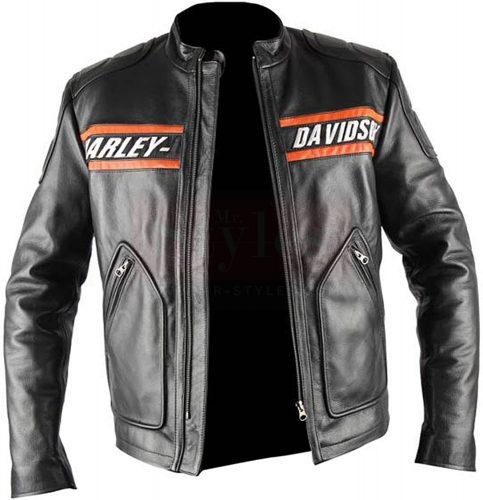 Bill Goldberg Black Harley Davidson Motorcycle Leather Jacket