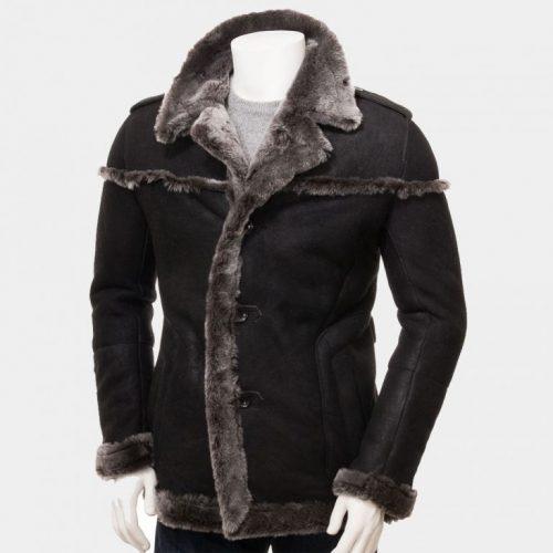 Men's Black Shearling Leather Fashion Long Coat